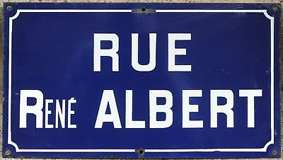 Old French enamel steel street sign road plaque name René Albert Seine Paris