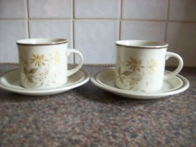ROYAL DOULTON SANDSPRITE - 2 X CUPS AND 3 SAUCERS Good Used Condition
