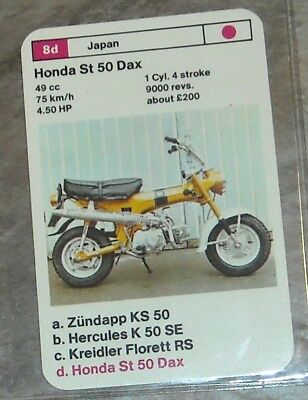 Vintage TOP TRUMPS card game Motorcycle Info Card Honda ST50 DAX