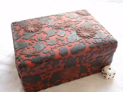 Antique Chinese Carved Cinnabar  Lacquer Box Red Black Brown Flowers