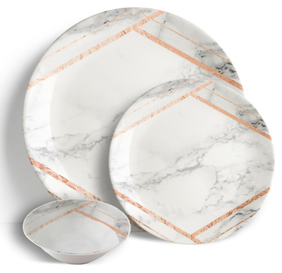 """18 Piece Dinner Set 10.5"""" Plates 7.5"""" Side Plates 6"""" Bowls - Roma Marble"""
