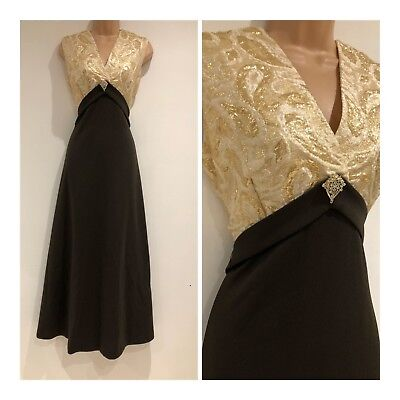Vintage 70s Gorgeous Brown & Gold Jacquard Occasion Evening Party Dress Size 12