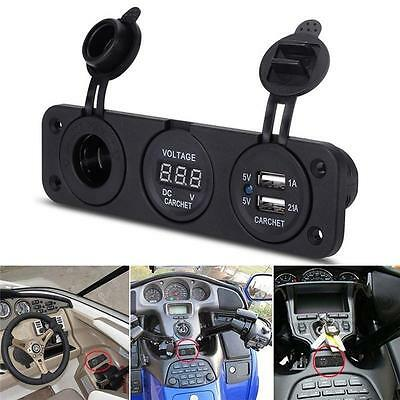 Dual USB LCD Car Charger Cigarette Lighter Double Power Adapters Socket Splitter
