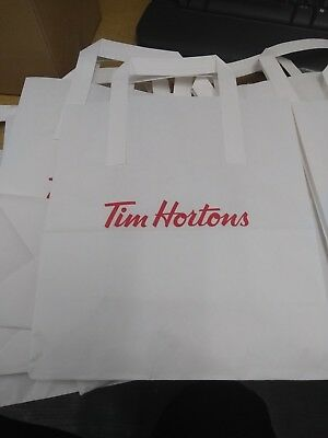 15 NEW Tim Hortons Coffee Cake & Bake Shop UK Collectable Large Paper Bags White