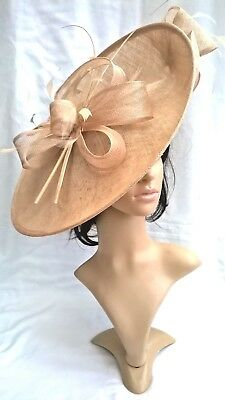 Pale gold Bow trim Sinamay Hatinator.hat.Large saucer disc Wedding.races.new