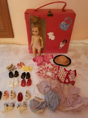 1950s Vintage Nancy Ann Muffie Doll Blonde w/ Case, Clothes & Accessories
