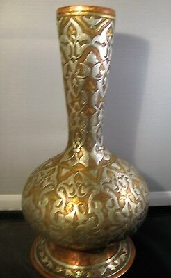 "Vintage Copper Silver Inlaid Etched Vase Made in Egypt 9"" Tall Weighs 2.8 lbs"