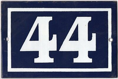 Old blue French house number 44 door gate plate plaque enamel steel metal sign