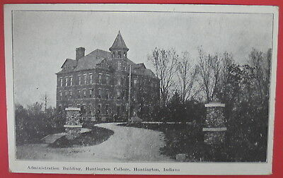 Antique Postcard-Administration Building-Huntington College-Huntington Indiana