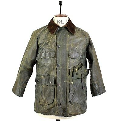 Men's Classic BARBOUR BEDALE Green WAXED COTTON Outdoor Hooded Jacket UK 34 XS