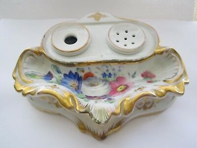 Antique Porcelain Hand Painted Fountain Pen Holder & Ink Well Set No Reserve! Nr