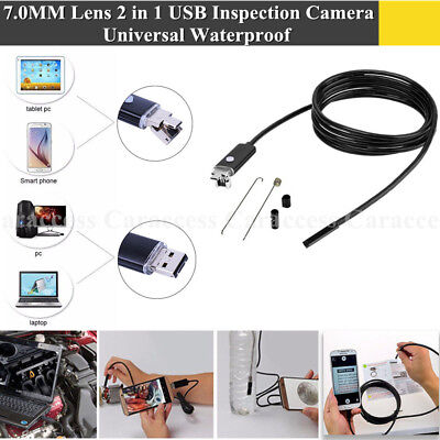 7.0MM Lens 2 in 1 USB Inspection Camera 6 LED Adjustable Lights Waterproof New
