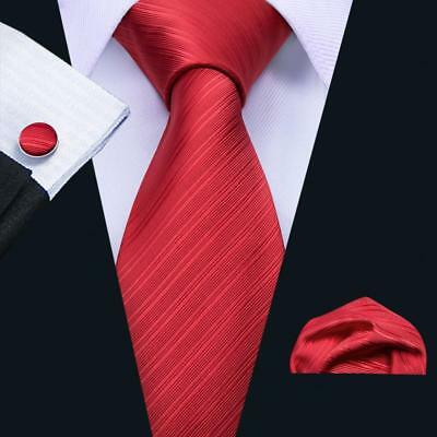 USA Red Tie Set Silk Men's Christmas Ties Jacquard Woven Solid Necktie Lot Party