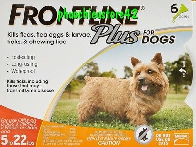 FRONTLINE Plus Flea and Tick Control for 5-22lbs Dogs - 6 Doses FREESHIP