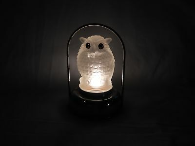 A Vintage Glass Owl Battery Operated Halloween Lantern Working