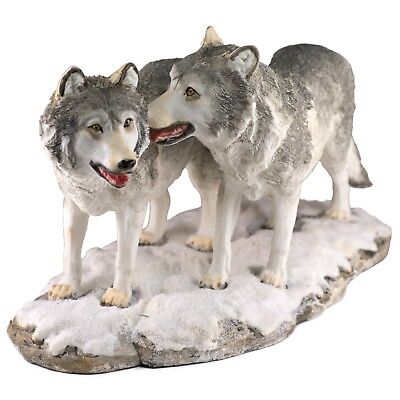 """Two Wolves Wolf Figurine Statue 11.75"""" Long - Highly Detailed Resin New In Box"""