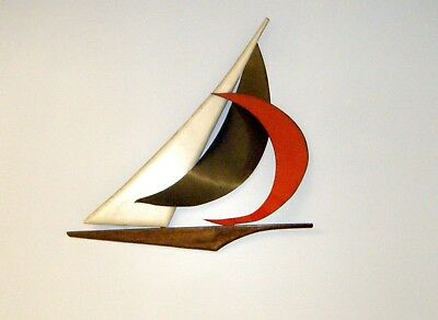 Vintage Mid-Century Metal & Wood Sailboat Wall Hanging Décor