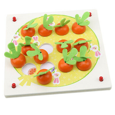 3D Wooden Tangram Puzzle Board Early Education Carrot Memory Game Baby Toys LD