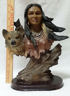 Indian Maiden with Wolf Statue