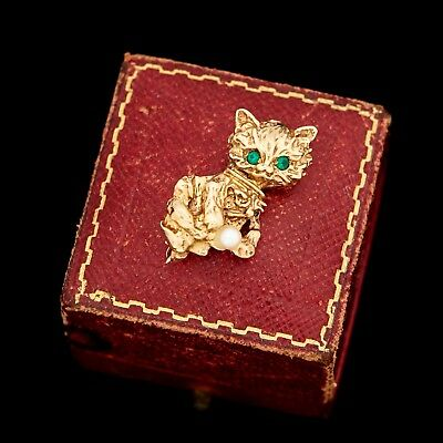 Antique Vintage Deco Retro 14k Yellow Gold Figural Kitty Cat Emerald Pin Brooch