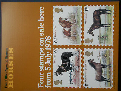 Royal Mail A4 Post Office Poster 1978 Horses Shetland Pony Shire