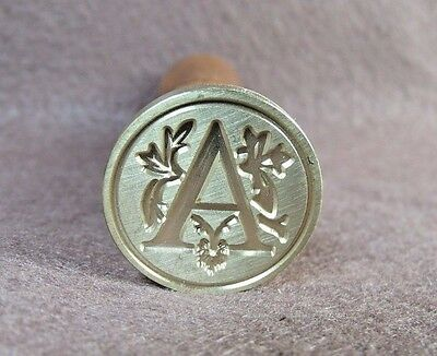 """Vtg Style Brass & Wood Floral Script Letter """"A"""" Sealing Wax Stamp Seal"""