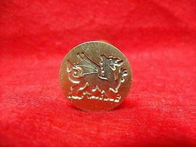 Vtg Style Brass & Wood Welsh Dragon Sealing Wax Stamp Seal