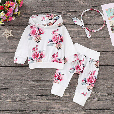 Kids Baby Girls Floral Hooded Tops Pants Leggings Set Autumn Tracksuit Clothes