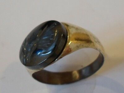 UNIQUE GIFTS,DETECTOR FIND & POLISHED,2nd Cent ROMAN AE SEAL/STONE INTAGLIO RING