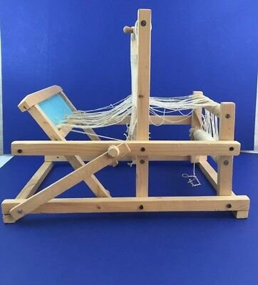 Vintage Wooden Folding Tabletop Weaving Loom Unbranded