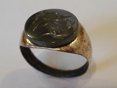 CHRISTMAS GIFT,DETECTOR FIND,2nd Cent ROMAN AE SEAL/STONE INTAGLIO RING.POLISHED