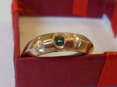 X-Mas Offer,polished,detector Find,200-400 A.d Ae Wedding Ring With Real Emerald