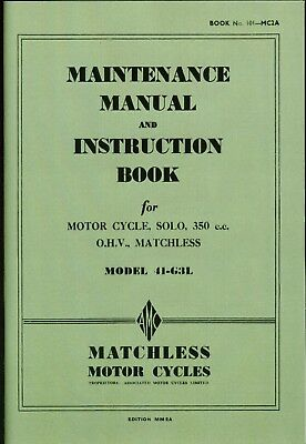 Matchless Maintenance Manual and Instruction Book 350cc OHV G3L WD Models