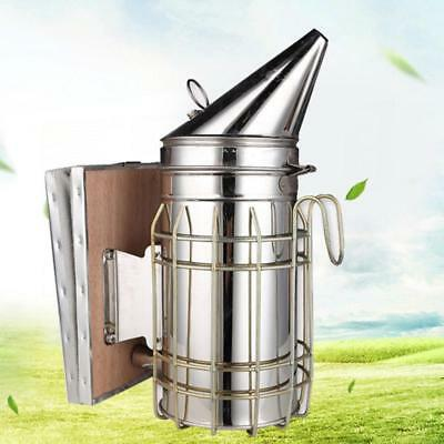 Stainless Steel Bee Hive Smoker with Heat Shield Beekeeping Equipment Too Gift
