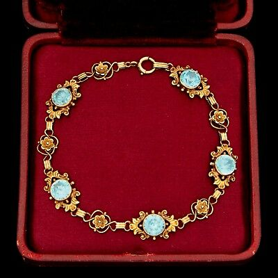 Antique Vintage Art Nouveau 14k Rose Gold Jugendstil Blue Zircon Floral Bracelet