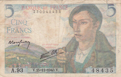 5 Francs Fine Banknote From German Occupied France 1943!pick-98!