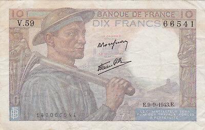 10 Francs Fine Banknote From German Occupied France 1943!pick-99!