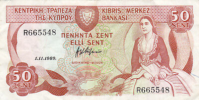 50 Cents Fine Banknote From Cyprus 1989!pick-52!!