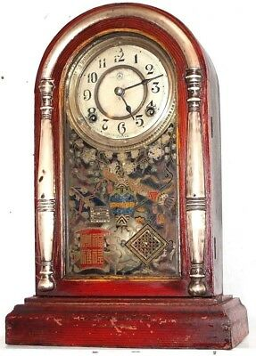 ANTIQUE 1880's CHINESE GRAIN PAINTED VENETIAN CLOCK W/ COLUMNS & PAINTED GLASS.
