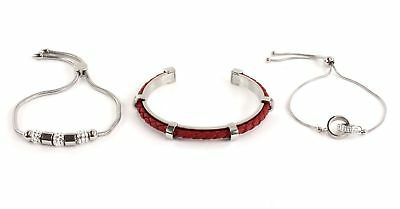 GUESS Red Leather Beads Rings Bracelet Set Armband Geschenkset Silber