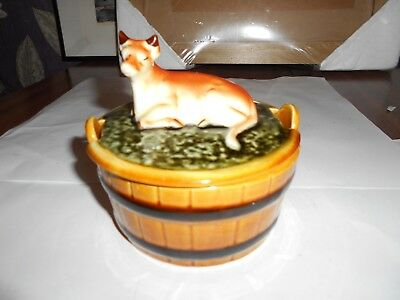 vintage ceramic retro butter dish cow and pail barrel green brown with lid