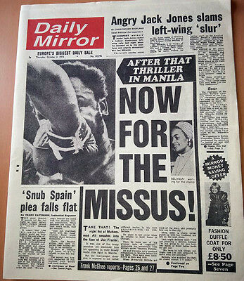 Daily Mirror Muhammad Ali Thriller in Manila Boxers Boxing The Greatest Fight US