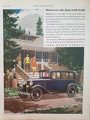 1930 Ford Motor Co three window fordor sedan car ad