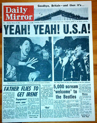 1964 Beatles Arrive in USA Daily Mirror Newspaper Old Retro Vintage Collectable
