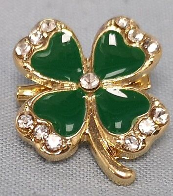 Four Leaf Clover Gold Badge St Patricks Day Ireland Lucky Faux Diamond Shamrock