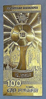 Russia Gold Bank Bill World Cup 2018 100 Rubles Soviet Football Crest Emblem USA