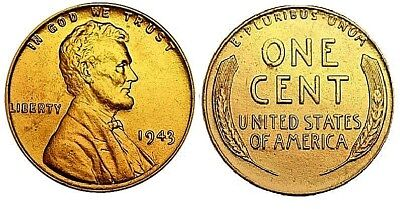 Gold 1943 US Wheat Cent Coin Penny United States of America Antique WW2 New York