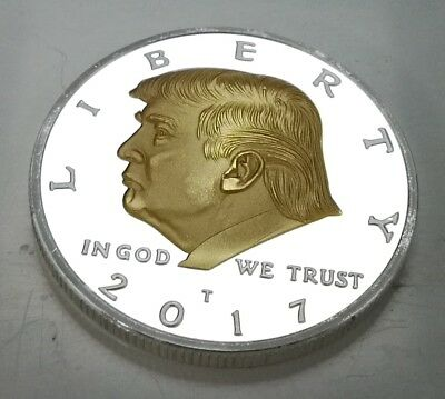 Donald Trump Silver & Gold President Eagle 2017 USA God Bless America Leader Fun