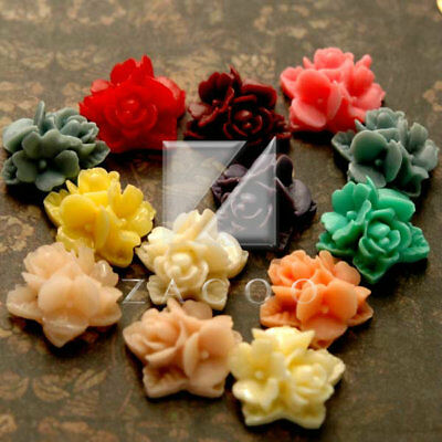6/14pcs Resin Flatback Cabochons Cameo Flower DIY Scrapbooking 9x9x3.5mm PWRB632 Crafting Pieces