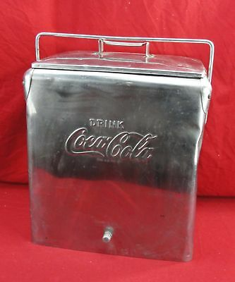 Vintage Coca-Cola Coke Cooler Temprite Stainless Steel Ice Chest Carry Portable